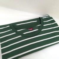 Kaos STRIPE MEDIUM GREEN Baju Polos Garis Hijau Putih