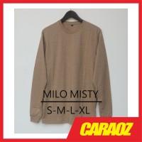 Kaos Polos LS MILO MISTY Baju Polos Lengan Panjang Moca Coklat