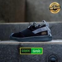 Sepatu Adidas ORIGINAL Superstar Slip On Black Grey utility .