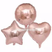 Balon Foil Rose Gold Size 45 cm Bulat/Round, Hati/Love, Star/Bintang
