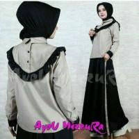 Jual Baju Muslim Modern Ayou Mizzura Grey Black Bahan Katun Mix Balote