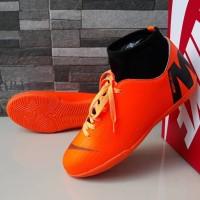 Sepatu Olahraga Futsal Nike Mercurial Superfly Vapor Oren Hitam Import