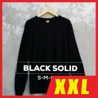 Kaos Polos XXL LS BLACK SOLID / Baju Polos XXL Hitam Lengan Panjang