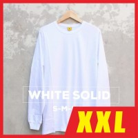 Kaos Polos XXL LS WHITE SOLID / Baju Polos XXL Putih Lengan Panjang