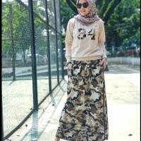 Baju Stelan maxi dress set gamis blouse longdress baju wanita loreng
