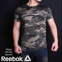 Baju Kaos Army Reebok Hijau Loreng Gym Fitness Sport Olahraga Pria