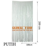 backdrop foil putih/ tirai rumbai / foil fringe curtain / tirai foil