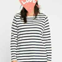 Kaos baju atasan wanita belang stripe LD 105
