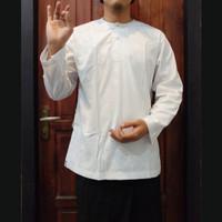 atasan baju koko muslim pria lengan panjang putih polos simple elegan