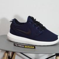 Sepatu Running Nike Roshe Run Two 2 Navy Blue - Black Biru Dongker