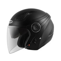 Zeus ZS610 Matt Black Helm Half Face Double Visor Z610