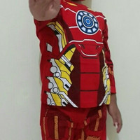 baju karakter iron man/kostum iron man/baju anak iron man/setelan anak
