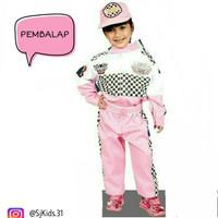 Baju / stellan / kostum / seragam profesi anak pembalap wanita size 2