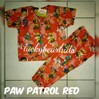 Piyama Anak Katun Catra/CVC Paw Patrol Red size XXL