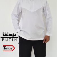Baju Muslim Koko Muzdalifah Kerah Oblong Polos Warna Putih Bahan