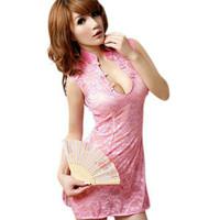 Lingerie Seksi baju tidur seksi dewasa cheongsam Brukat Pink Klasik