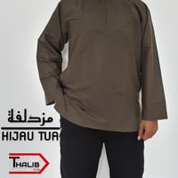 Baju Muslim Koko Muzdalifah Kerah Oblong Polos Warna Hijau Tua Bahan