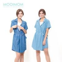 MOOIMOM Denim Nursing Dress Baju Hamil Menyusui