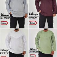 Baju Muslim Koko Muzdalifah Kerah Oblong Polos Warna Bahan Cotton