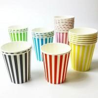 Balonasia Pesta Party Tableware Papercup Gelas Kertas Garis set 10pcs