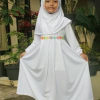 Baju Muslim Gamis Anak Perempuan Simple Dan Cantik Warna Putih -D136