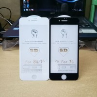 Tempered Glass, Anti Gores Kaca Full Cover iPhone 7, iPhone 8 5D - Hitam