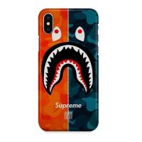 Indocustomcase shark bape Supreme Hard Casing Case Cover For iPhone X