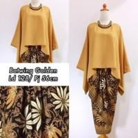 Setelan Kebaya Modern Batwing Warna Kuning