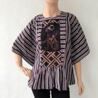 Baju blouse atasan lengan pendek batik cap lurik katun primis wanita