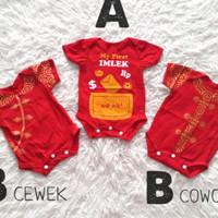 jumpsuit kaos baju imlek sincia anak perempuan bayi laki jumper merah