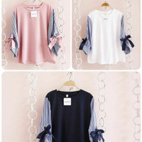 japan top/atasan remaja wanita/baju pita lucu/fashion terbaru muslim