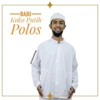 Baju Koko Taqwa Visan Putih Polos Muslim Pria Lengan Panjang Katun