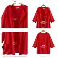 Red Leisure Outer (S,M,L,XL) Coat Cardigan - 32033