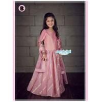 Baju India Anak Perempuan Warna Pink Muda Pakaian Setelan Anak India