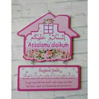 Hiasan Dinding Gantung Shabby Assalamualaikum Doa Masuk Rumah pink