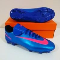 MURAH BERKUALITAS Sepatu Bola NIKE Mercurial Vapor FG (Blue Pink)