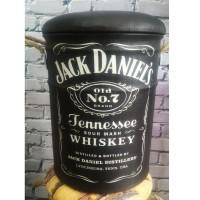 Kursi Tong /sofa Bangku Kaleng Tin Stool Logo Jack Daniels Kulit oscar