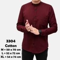 Baju Kemeja Lengan Panjang Casual Pria Merah Maroon Polos Slimfit 3268