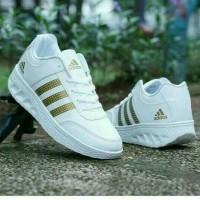 sepatu sneaker putih polos adidas tiga garis three stripe gold emas