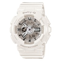 Casio Baby-G BA-110-7A3DR Ladies Digital Analog Dial White Resin Strap