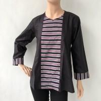 Baju blouse atasan lengan panjang batik cap lurik katun primis wanita