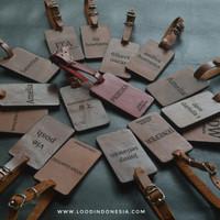 Luggage name tag kulit asli
