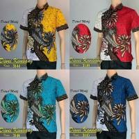Baju Batik Kemeja Cowok Kemeja Batik Kembang Naga Hem Lengan Pendek