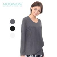 MOOIMOM Nursing Wrap Front Long Sleeve Jersey Top Baju Hamil Menyusui