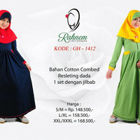 Dress/gamis +jilbab anak Rahnem GH1412