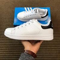 Sepatu Adidas Stan Smith White Black / Pria Wanita / StanSmith Putih