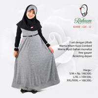 Dress/ gamis + jilbab anak Rahnem GH 12