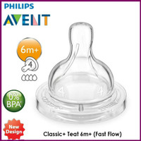 Philips Avent Classic+ Nipple Teat Dot Fast Flow 6m+ isi 1
