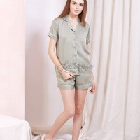 Satin Short Pants Piyama Olive / Baju tidur satin wanita / piyama