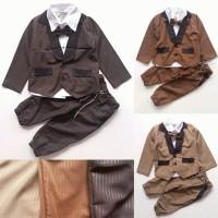 promo Baju Setelan Pesta Anak Bayi Laki Jas Tuxedo Coklat Garis Celan